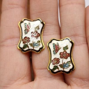 NWT Vintage cloisonne butterfly Asian white enamel